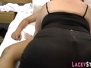 Busty granny sucks black dick and gets plowed