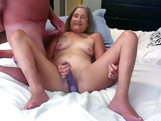 Beautiful Mature Silversquirter Dildos Her Wet Pussy While Husband Jacks Off On Her Titties