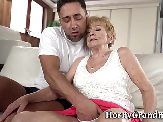 Old woman gets fingered before riding